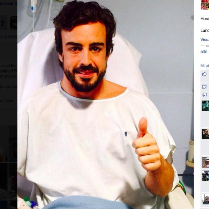 Alonso sta bene, la foto dall'ospedale. Forse il vento causa dell'incidente
