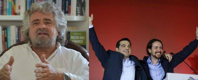 """Grillo a Tsipras e Podemos: """"Fronte anti-austerità. Con tutti tranne Alba Dorata"""""""