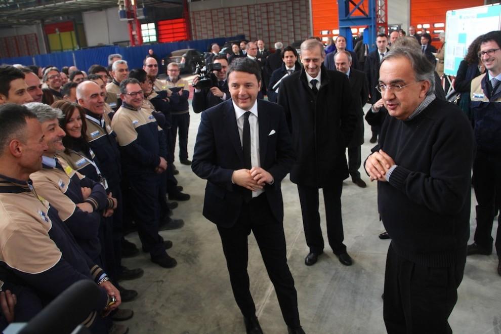 Matteo Renzi, Piero Fassino, Sergio Marchionne a Mirafiori