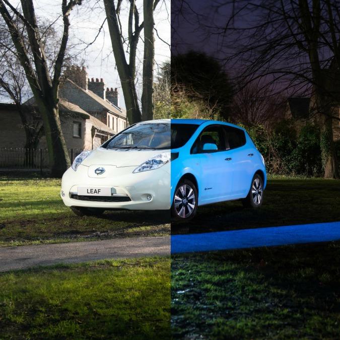 Nissan Leaf, l'elettrica fosforescente. Per sensibilizzare all'uso dell'energia solare