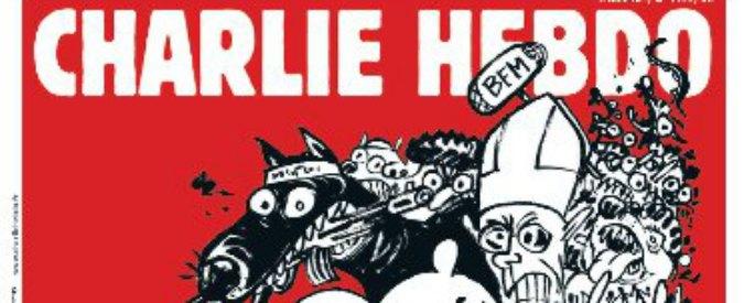 Charlie Hebdo in edicola. In copertina Papa Francesco, Sarkozy e uno jihadista