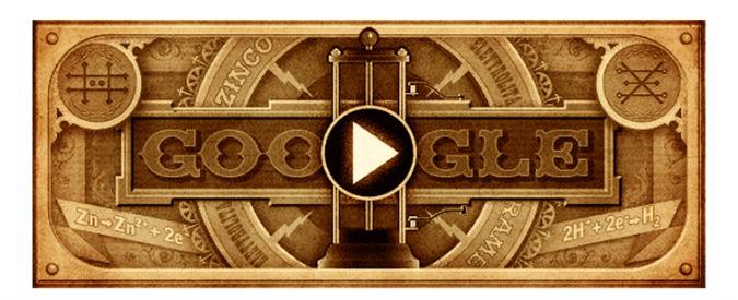 """Alessandro Volta, il Google Doodle """"accende"""" la pila"""