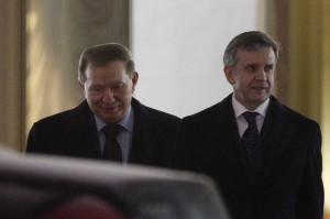 Former Ukrainian President Kuchma and Russian Ambassador to Ukraine Zurabov leave after the meeting of the so-called Contact Group on eastern Ukraine in Minsk
