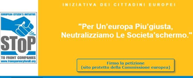 """Evasione e riciclaggio, raccolta firme europea contro le """"società schermo"""""""