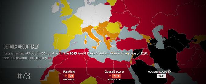 Libertà di stampa, Italia giù. In attesa di sprofondare con la legge sulla diffamazione