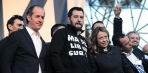 """Piazza del Popolo. Manifestazione della Lega """"Renzi a Casa"""""""