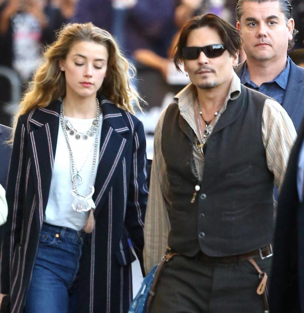 Johnny Depp e  Amber Heard arrivano al Kimmel show