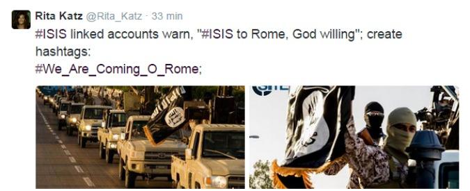 "Isis, i jihadisti creano l'hashtag su twitter: ""Stiamo arrivando a Roma"""