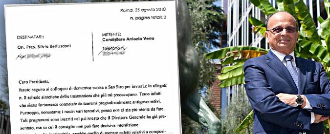 """Rai, consigliere scrisse a Berlusconi: """"8 programmi anti-governo, interveniamo"""""""