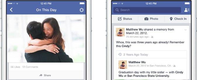 """Facebook, la funzione """"Accade oggi"""" per riscoprire foto e post a distanza di anni"""