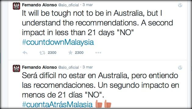 Alonso su Twitter il 3 marzo 2015