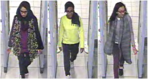 Combo picture of CCTV handouts shows British teenage girls Shamima Begun, Amira Abase and Kadiza Sultana walking through security at Gatwick airport before they boarded a flight to Turkey