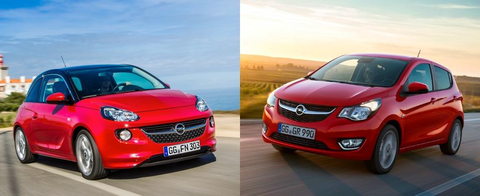 Le Opel Adam (a sinistra) e Karl: entrambe sono lunghe 3,7 metri