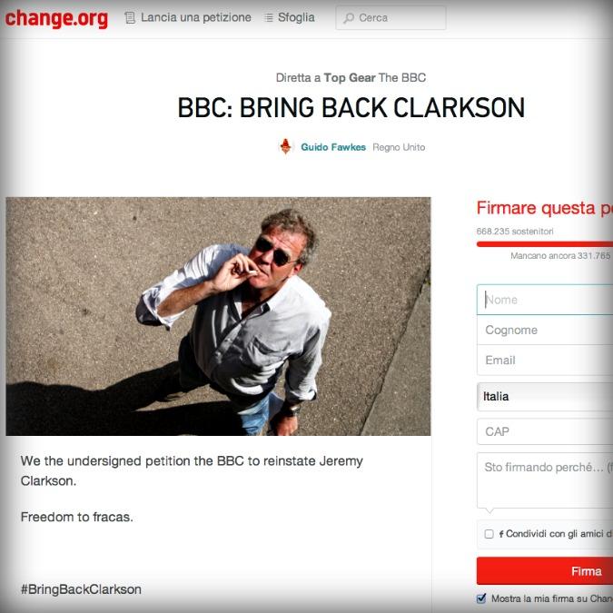 """Jeremy Clarkson, """"BBC, non cacciarlo da Top Gear"""". 700.000 firme in due giorni"""
