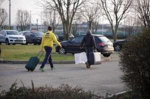 I giocatori del Parma escono dal centro Sportivo di Collecchio