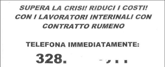 """Crisi, agenzia interinale di Modena offre lavoratori con """"contratto rumeno"""""""
