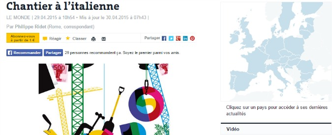 """Expo 2015, Le Monde: """"Cantiere all'italiana"""". Le Figaro: """"Sfida immensa"""""""