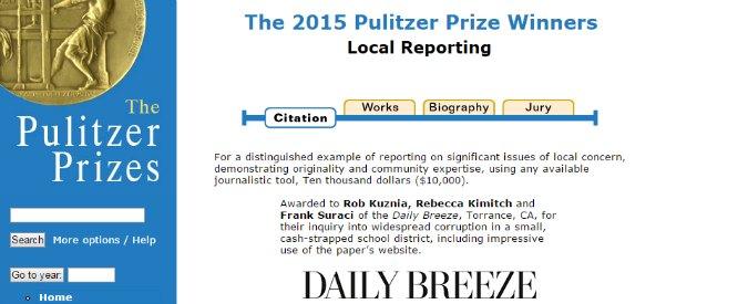 """Pulitzer 2015, un vincitore non fa più il giornalista: """"Non si arriva a fine mese"""""""