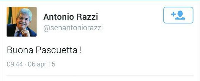 """Antonio Razzi: """"Buona Pascuetta"""". E il tweet diventa subito virale"""