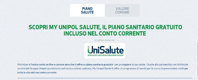 """Unipol Banca, """"piano sanitario gratis con conto online"""". Ma attenzione alle clausole"""