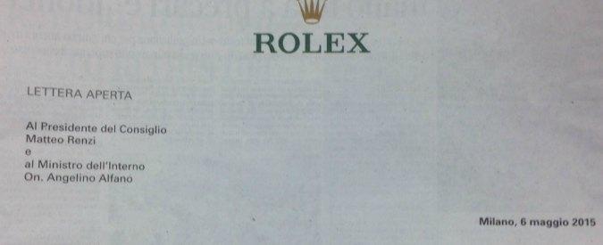 """No Expo, l'ad Rolex contro Renzi e Alfano: """"I violenti non hanno il nostro orologio"""""""