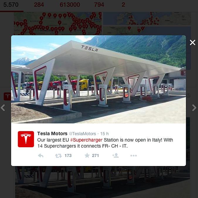 Tesla, inaugurata ad Aosta la stazione Supercharger più grande d'Europa