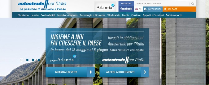 Bond Autostrade, lo spot inganna. Prestito serve a ripagare debiti Benetton