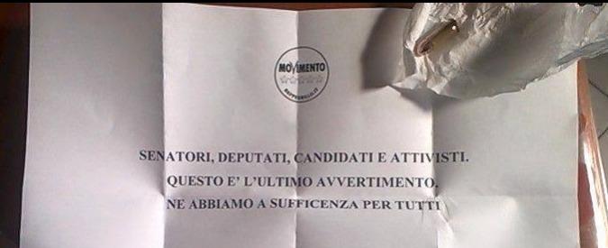 """M5S, lettera con proiettile a candidato: """"Ultimo avvertimento"""""""