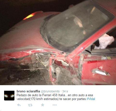 Da Twitter alcune immagini della Ferrari distrutta