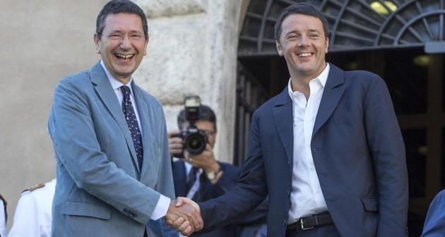 Ignazio Marino e Matteo Renzi ai Fori Imperiali