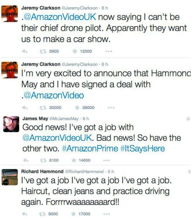 Clarkson May Hammond su Twitter