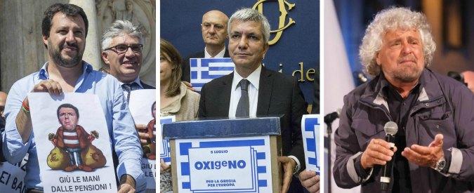 """Referendum Grecia, ad Atene per il """"no"""" anche Grillo e Vendola. Ma non Salvini: """"Loro vanno in vacanza"""""""