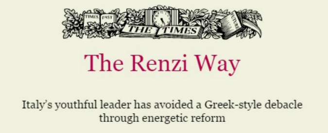"The Times: ""The Renzi Way"", l'elogio al premier del quotidiano di Murdoch"