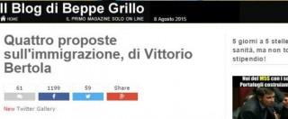 """Il blog di Beppe Grillo sull'immigrazione: """"Giro di vite sui permessi di soggiorno e rimpatrio di chi non ha diritto all'asilo"""""""