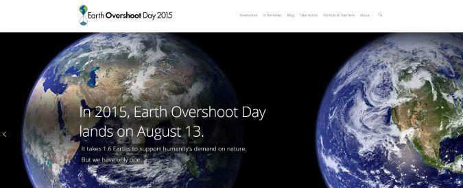 """Earth Overshoot Day 2015, esaurite tutte risorse del Pianeta. """"Da oggi stiamo depredando la Terra"""""""
