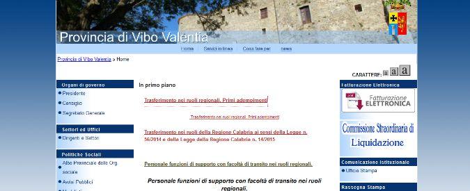 Province, catena di solidarietà da Piemonte a Sicilia per i dipendenti di Vibo Valentia