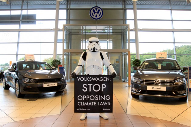 Action at Volkswagen Dealer in Leeds
