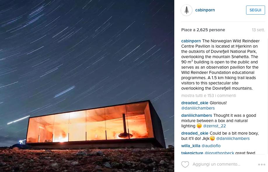 foto dal profilo Instagram @cabinporn