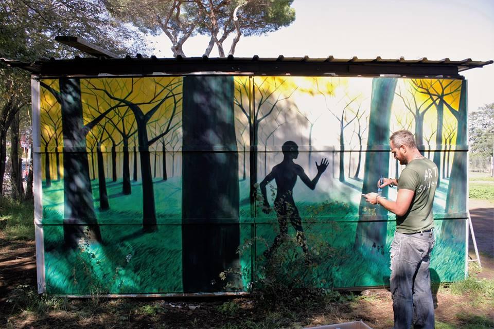 Roma, Parco del Pineto, Via della Pineta Sacchetti 78. La prima opera realizzata nell'ambito del progetto Pinacci Nostri. Quando l'uomo incontra la natura… con effetti stupendi. Foto di Raffaello Melchionda