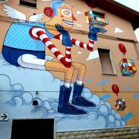 """2° ed. del """"Premio Antonio Giordano per il writing e la street art"""", opera realizzata in memoria dell'artista Antonio Giordano sulla sua casa paterna. """"Si dice che è artista solo chi sa fare della soluzione un enigma"""" (Mr. Thoms)"""