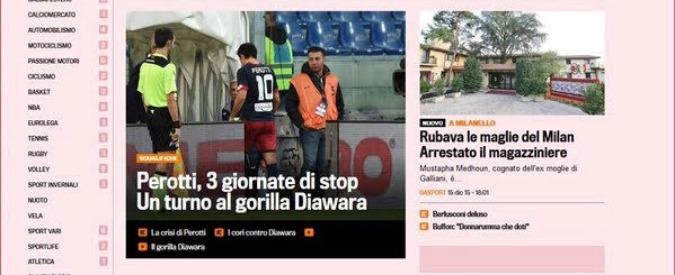 """Titolo razzista della Gazzetta dello Sport: """"Diawara, una giornata di stop al gorilla"""""""