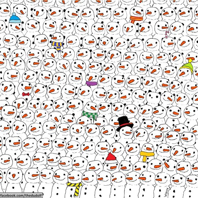 Trova il panda tra i pupazzi di neve