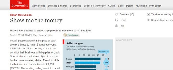 """Evasione fiscale, Economist: """"Alzare tetto contante? Cattiva idea. Renzi carica peso delle tasse su sempre meno italiani"""""""