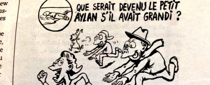 """Charlie Hebdo, ira sui social per la nuova vignetta: """"Se fosse vivo, il piccolo Aylan sarebbe un molestatore in Germania"""""""