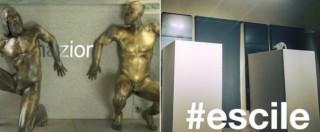 """Statue coperte, l'ironia degli utenti di Twitter: """"I bronzi di Riace si nascondono da Rohani"""""""