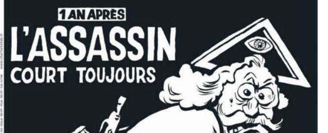 """Charlie Hebdo un anno dopo, la copertina con Dio insaguinato: """"L'assassino è sempre in fuga"""""""