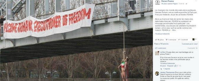 """Statue coperte per Rohani, premier francese: """"Ma Italia cos'ha combinato?"""". E Femen si impicca per protesta: """"Boia"""""""