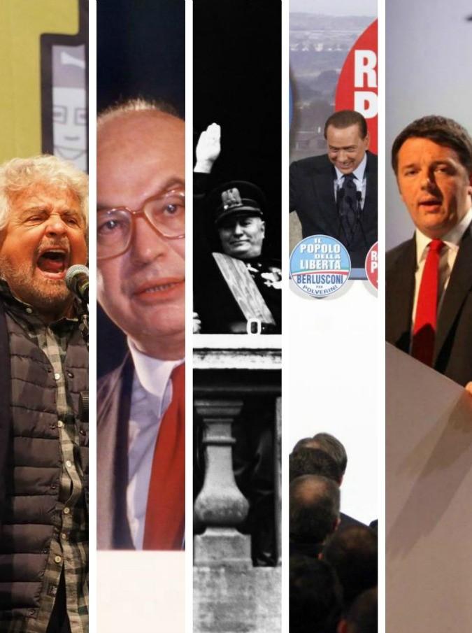 """Renzi, Grillo e Berlusconi: cosa resta di Mussolini in tic, vizi e vocabolario della politica. """"L'Italia? Non si è mai tolta la camicia nera"""""""