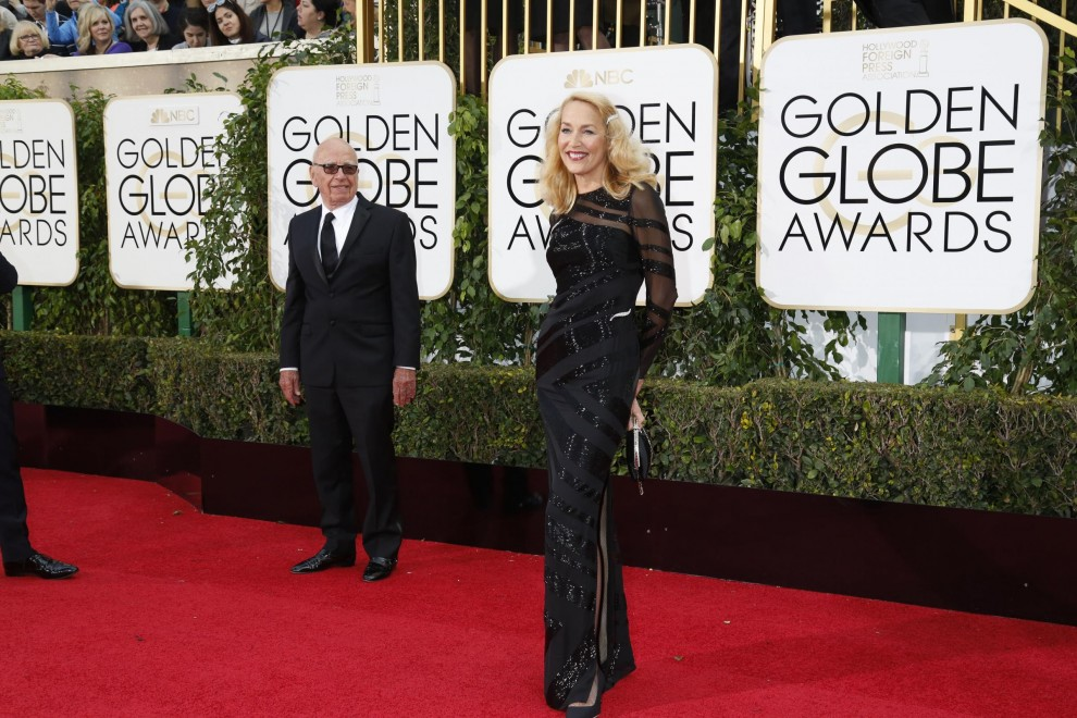 Rupert Murdoch e Jerry Hall ai Golden Globe awards a los Angeles