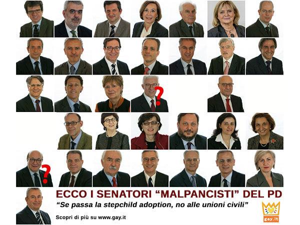 Unioni civili 30 senatori pd contro le adozioni e for Lista senatori